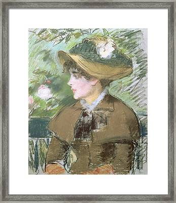 On The Bench Framed Print by Edouard Manet