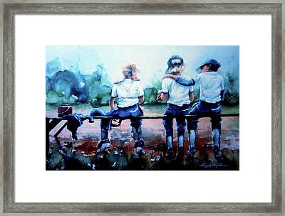On The Bench Framed Print