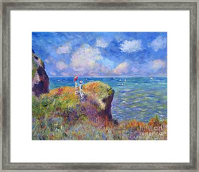 On The Bluff At Pourville - Sur Les Traces De Monet Framed Print by David Lloyd Glover