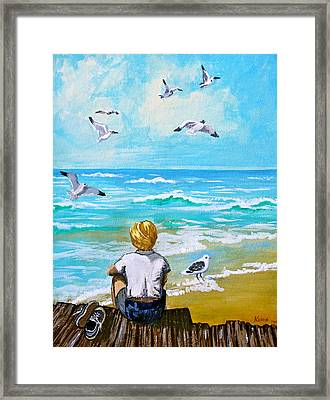 On The Boardwalk Framed Print