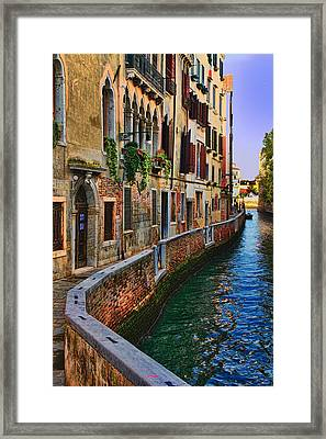 On The Canal-venice Framed Print by Tom Prendergast