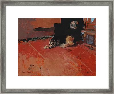 On The Carpet Framed Print by Robert Bissett