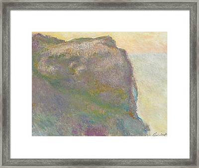 On The Cliff Framed Print by Claude Monet