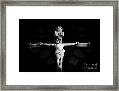 On The Cross Framed Print by Tim Gainey
