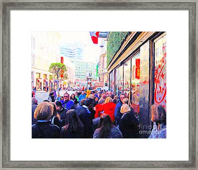 On The Day Before Christmas . Stockton Street San Francisco . Photo Artwork Framed Print by Wingsdomain Art and Photography