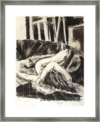 On The Divan Framed Print by Ron Bissett