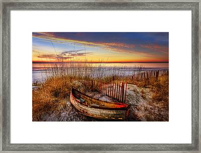 On The Dunes Framed Print by Debra and Dave Vanderlaan
