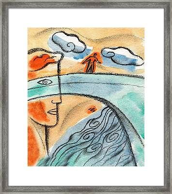 On The Edge Of The Bridge Framed Print by Leon Zernitsky