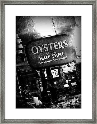 On The Half Shell - Bw Framed Print