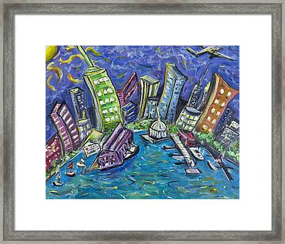 On The Hudson Framed Print by Jason Gluskin