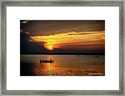 On The Lake At Sunset Framed Print by Christopher Holmes