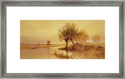On The Norfolk Broads Framed Print by Edward Duncan