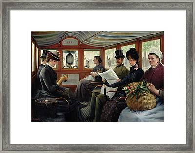On The Omnibus Framed Print by Maurice Delondre