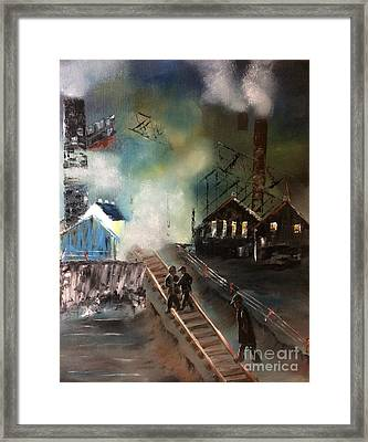 Framed Print featuring the painting On The Pennsylvania Tracks by Denise Tomasura