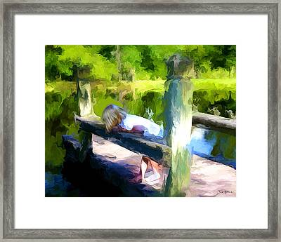 On The Pier Framed Print by Fred Baird