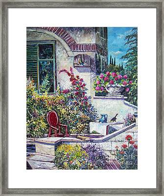 On The Porch Framed Print by Sinisa Saratlic