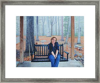 Framed Print featuring the painting On The Porch Swing by Mike Ivey