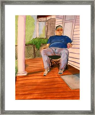 Framed Print featuring the pastel On The Porch With Uncle Pervy by Jean Haynes