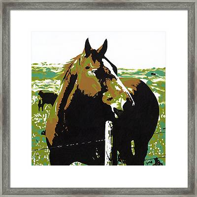 On The Range - Brown Framed Print by Sonja Olson
