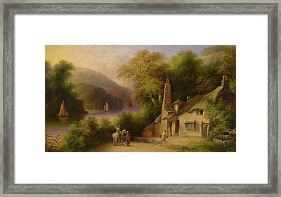 On The River Dart Between Totnes And Dartmouth Framed Print by John Wallace Tucker
