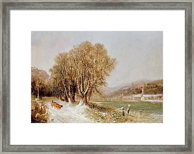 On The River Neckar Near Heidelberg Framed Print by Joseph Paul Pettit