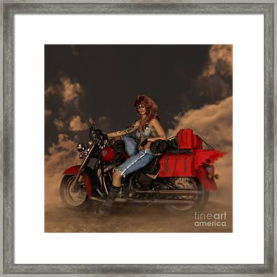 Framed Print featuring the digital art On The Road Again by Shanina Conway