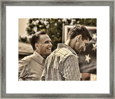 On The Road-mitt Romney Framed Print by Joann Vitali