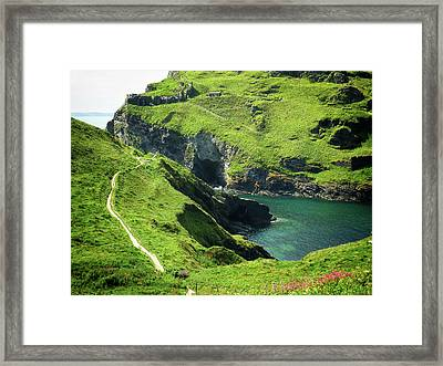 Framed Print featuring the photograph On The Road To Tintagel by Connie Handscomb