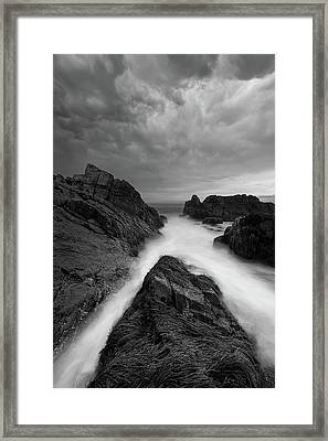 On The Rocks - B/w Framed Print