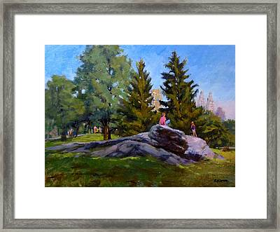 On The Rocks In Central Park Framed Print by Peter Salwen