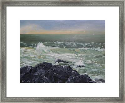 Framed Print featuring the painting On The Rocks by Ken Ahlering