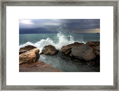 Framed Print featuring the photograph On The Rocks by Martina  Rathgens
