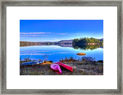 On The Shore Of Seventh Lake Framed Print by David Patterson