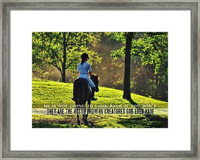 On The Showgrounds Quote Framed Print by JAMART Photography