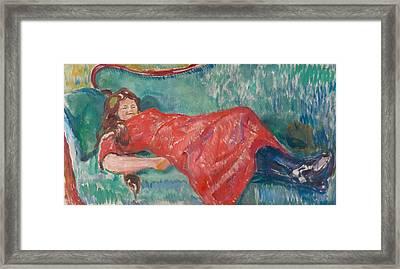 On The Sofa Framed Print by Edvard Munch