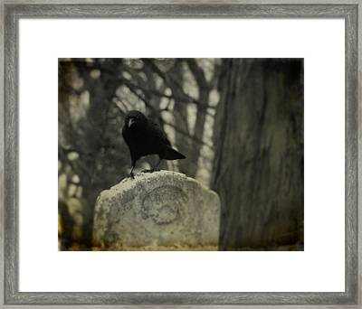 On The Tombstone By The Tree Framed Print by Gothicrow Images