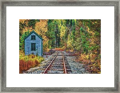 On The Tracks Painted Framed Print by Black Brook Photography