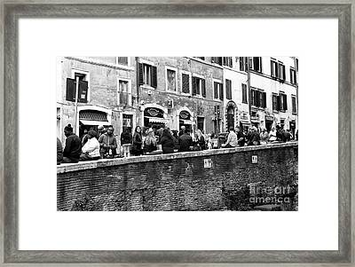 On The Wall In Rome Framed Print by John Rizzuto