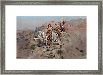 On The Warpath Framed Print by Charles Marion Russell