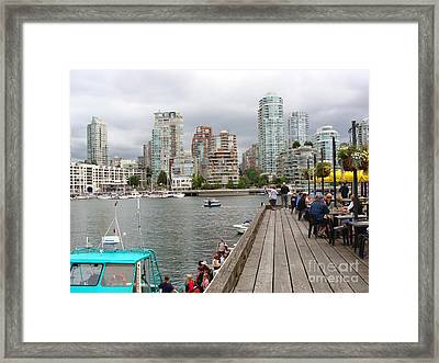 Framed Print featuring the painting On The Water At False Creek Vancouver by Rod Jellison