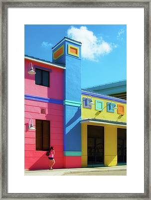 On The Way - Buildings Of Ft. Myers Beach, Florida Framed Print