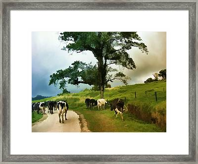 Framed Print featuring the painting On The Way Home  by Elaine Manley
