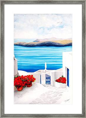 On The Way To Santorini - Prints Of Original Oil Painting Framed Print by Mary Grden Fine Art Oil Painter Baywood Gallery