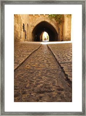 Framed Print featuring the photograph On The Way To The Western Wall - The Kotel - Old City, Jerusalem, Israel by Yoel Koskas