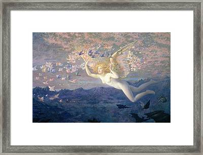 On The Wings Of The Morning Framed Print by Edward Robert Hughes