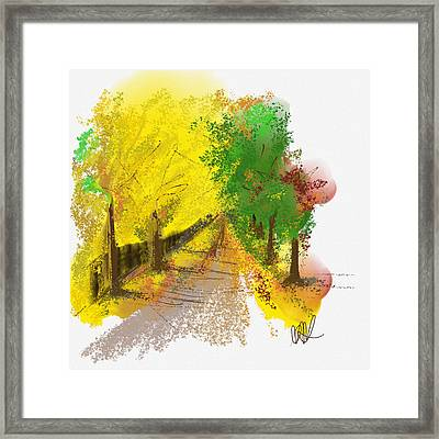 On The Yellow Road Framed Print