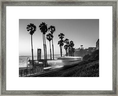 On Time Black And White Framed Print by Scott Campbell