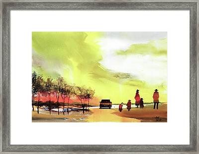 Framed Print featuring the painting On Vacation by Anil Nene