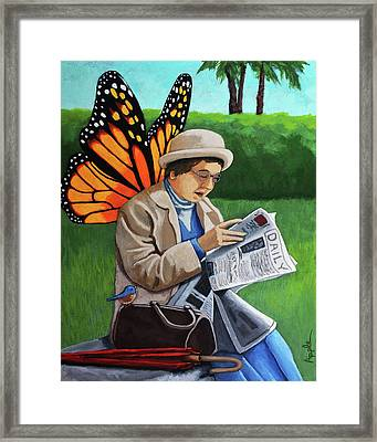 On Vacation -butterfly Angel Painting Framed Print