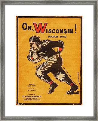 On Wisconsin Sheet Music Poster - Oil Framed Print